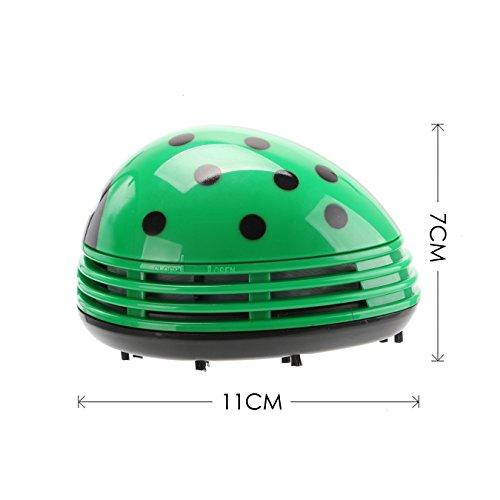 VOYEE Cute Portable Beetle Ladybug Cartoon Mini Desktop Vacuum Desk Dust Cleaner Green by VOYEE (Image #4)'