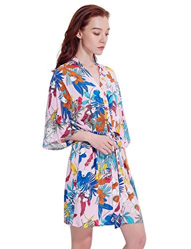 Skyfitting Women's Floral Cotton Short Kimono Bridesmaid Robe,Sleepwear Bathrobe Regular Size Pink