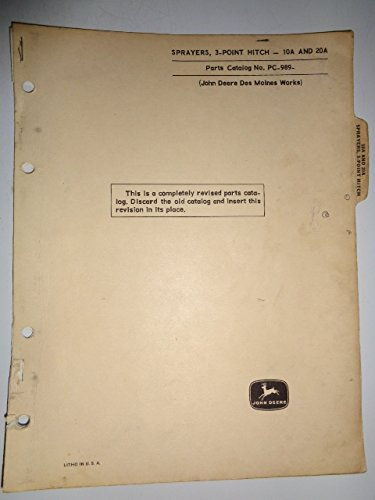 John Deere 10A 20A 3-Point Hitch Sprayer Parts Catalog Manual PC989