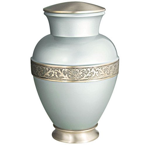 - MEILINXU Funeral Urn by Cremation Urns for Human Ashes Adults and keepsake Urns - Design is Hand Engraved in Brass - Display Burial Urns At Home or in Niche at Columbarium (Elsene Pale Blue Urn
