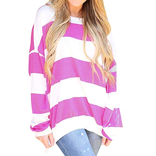 ICE Cream Womens Sexy Striped Print Long Sleeve Bat Sleeve Fashion Blouse O-Neck Tops Shirt
