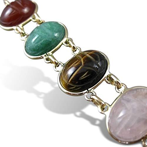 Milano Jewelers LARGE JADE CARNELIAN ONYX 14K YELLOW GOLD OVAL DOUBLE ROW BRACELET 23386 ()