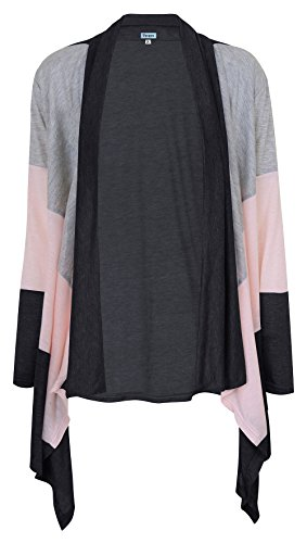 Twippo Women Open Front Cardigan Long Sleeve Kimono Shirt Black XL