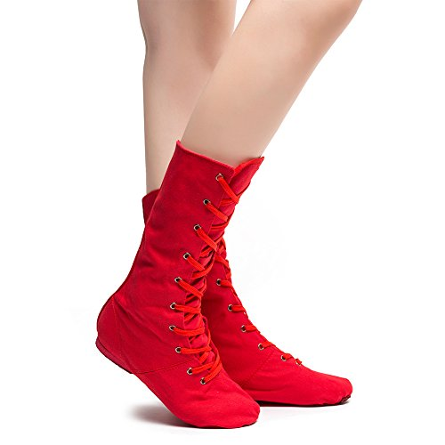 Women's Canvas Cosplay Dance Boots Red/Black/White