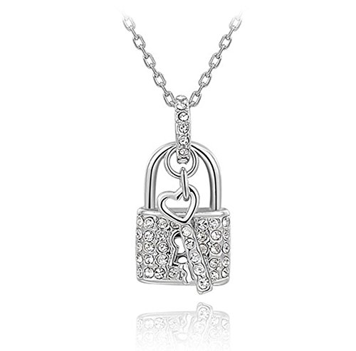 Fashion platinum Plated Austrian Crystal Padlock Pendant Necklace. The Open Your Heart