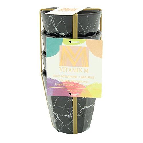 Vitamin M for Living! Unbreakable Reusable Chic and Elegant Ceramic Like White Marble Melamine Plastic Cups Set, Set of 4, 8.5oz ()