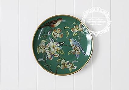 LGK&FA Rural de estilo europeo de cerámica bandejas decorativos para colgar en pared Home decoraciones personalizadas