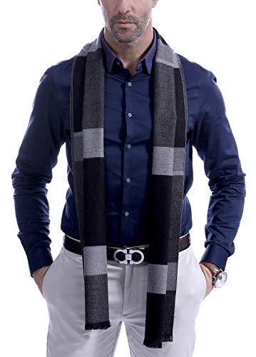 Men's Scarves, Fashion Cashmere feel Winter Scarves for Men Long with Tassels - Gray Black Plaid (Fashion Scarf Men)