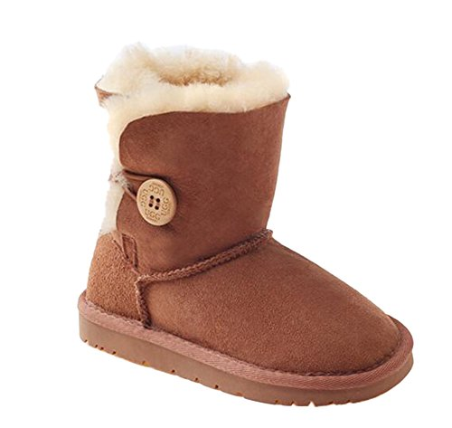 Ozwear UGG Wooden Buckle Mid-tube Children's Snow Boots Chestnut (US Little Kid 11M/12M)(UK 10/11)(AU 11/12)(EU 28) (Size Ugg 12 Kids)