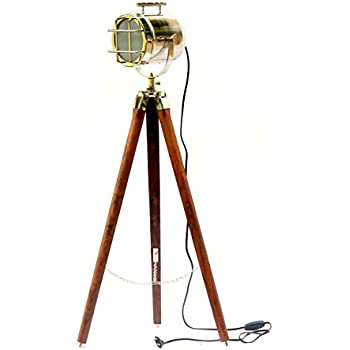 Vintage Old Camera Movie Searchlight Brown Tripod Stand