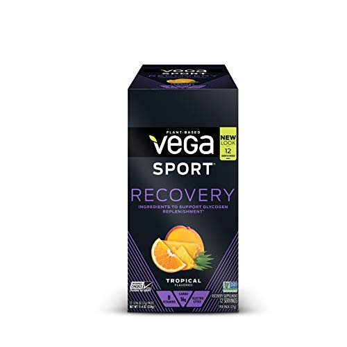 Vega Sport Recovery Tropical (12 Count, 11.52oz) - Vegan, Non Dairy, Gluten Free, Pre Workout Recovery, BCAAs, Non GMO (Packaging May Vary) (Best Drink After Running)