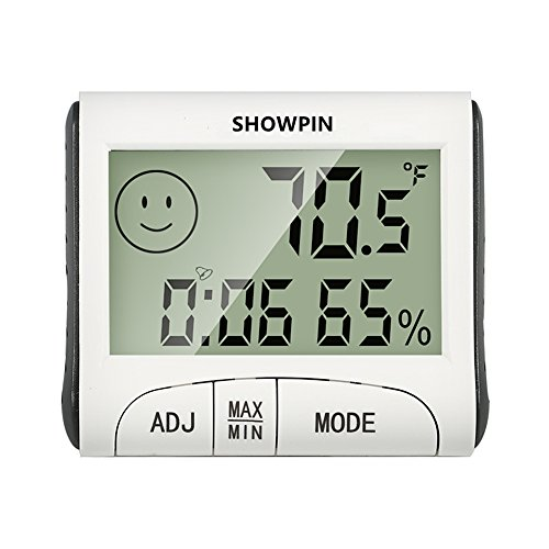 Showpin Indoor Temperature Hygrometer with Clock, Alarm Function, Large LCD Display and Numbers (Battery (Big Clock Necklace)