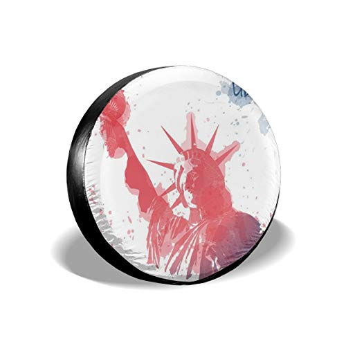 GULTMEE Tire Cover Tire Cover Wheel Covers,Watercolor Lady Liberty Silhouette with Paint Splashes Independence,for SUV Truck Camper Travel Trailer Accessories(14,15,16,17 Inch) 14