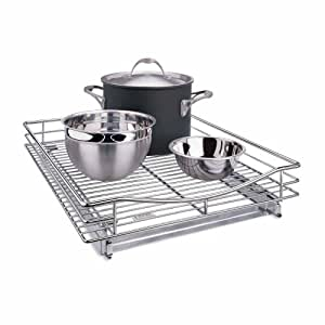 """Lynk Professional 17""""w x 21""""d Pull Out Extra Deep Kitchen Cabinet Organizer Drawer - Roll Out Under Cabinet Organizer Shelf for Pantry, Bathrooms - Slide Out Pots and Pans Organizer Rack - Chrome"""