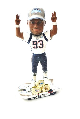 Richard Seymour #93 New England Patriots 3 time ring Super Bowl championship bobblehead statue by forever
