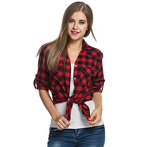 UOKNICE Womens Blouses, Long Sleeves Casual Warm Tartan Plaid Flannel Polyester Grid Shirts Roll Up Button Down Tops Shopping Cool Unique Spring Where Gray Gorgeous tan Lightweight Tube Lavender