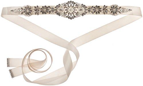Nina Women's Aneesa Romantic Floral Embellished Satin Bridal Belt, Ivory, One Size by Nina