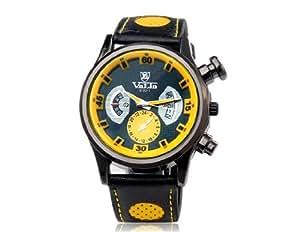 HE Shop Reloj de cuarzo analógico Movimiento Valia 9102-1 de los hombres con la correa de cuero de imitación (amarillo) M.