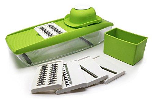 5-in-1 Kompakter Mandoline Gemüsehobel von Twinzee - V-hobel ideal für das dünne Schneiden von Obst und Gemüse, einheitlich und schnell - kommt mit austauschbaren, scharfen Edelstahlklingen, Handschutz und einfachem Lagerungsbehälter für Nahrung - schneide, hacke, würfle, reiben und julienne sowie andere Schnitte