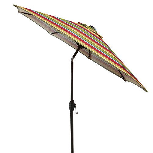 7 Foot Round Fabric Heavy Duty Bistro Outdoor Aluminum Patio Umbrella,  Multi Stripe