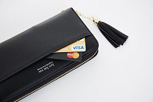 Cyanb-Women-Wallets-Tassel-Bifold-Ladies-Cluth-Wristlet-Wrist-strap-Long-Purse