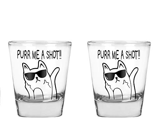 CBTwear - Purr Me a Shot - Funny Cat Gifts, Cat Shot Glass, Funny Middle Finger Cat Humor - 1.75 OZ Shot Glass (2) ()