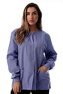 Just Love Womens Solid Medical Scrub Jacket Nurse Uniform Lab Coat