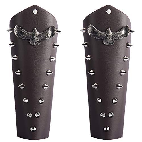 JAOYU Leather Gauntlet Wristband Medieval Archery Bracers Arm Armor Cuff Knights Costume -