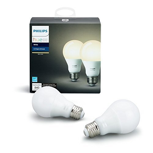Philips Hue White 2-Pack A19 60W Equivalent Dimmable LED Smart Light Bulbs, Works with Alexa, Apple HomeKit, and Google Assistant, (California Residents)