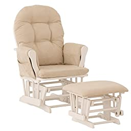 Premium Nursery Glider and Ottoman Rocker Chair Storkcraft in White and Beige for Mother and Baby