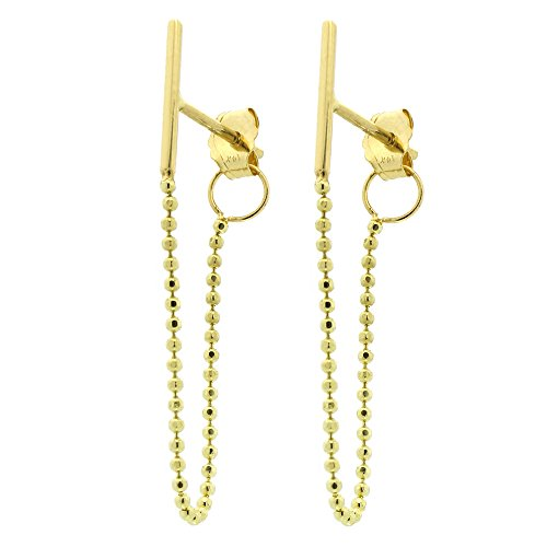 Automic Gold Solid 14k Yellow Gold Line with Beaded Chain Earrings (14k Yellow Gold Chain Earrings)