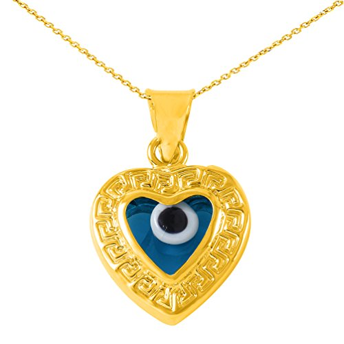- JewelryAmerica High Polish 14k Gold Heart Shaped Blue Evil Eye Pendant Necklace, 20