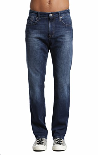 Brushed Denim Jeans (Mavi Men's Zach Regular-Rise Straight-Leg Jeans, Dark Brushed Williamsburg, 36W x 30L)