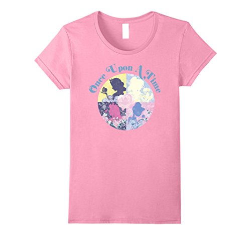 Princess Womens Pink T-shirt (Womens Disney Princess Once Upon A Time Silhouette Graphic T-Shirt Large Pink)