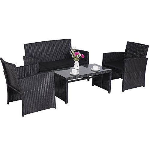 Cloud Mountain 4 Piece Rattan Furniture Set Patio Conversation Set Sectional Wicker Rattan Furniture Outdoor Garden Lawn Sofa Cushioned Set, Black Rattan with Black Cushions (4 Piece Wicker)
