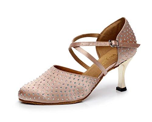 Minishion QJ705 Womens Crystals Satin Sparkle Modern Salsa Tango Ballroom Latin Dance Shoes Beige