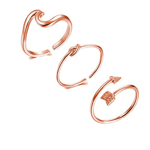 (choice of all 3Pcs Arrow Knot Wave Rings for Women Simple Adjustable Rings Set (B:Rose Gold))