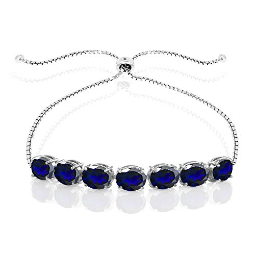 Sterling Silver Created Blue Sapphire 9x7mm Oval-cut Adjustable Bracelet by GemStar USA