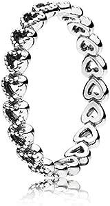 Pandora Women's Silver Openwork Heart Zircon Fashion Ring - 52 EU - 190980-52