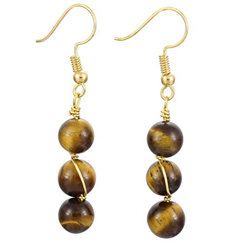 Nupuyai Stone Drop Earrings for Women, Wire Wrapped Triple Ball Beaded Dangle Hook Earrings for Girls, Tiger's Eye Stone -