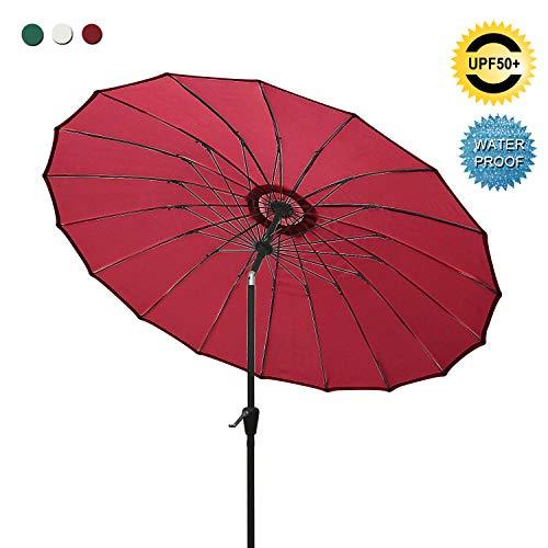 ABCCANOPY Patio Umbrella 9FT Outdoor Umbrella 18 Ribs Market Umbrella with Push Button Tilt and Crank, Sun shelter for Garden, Deck and Pool (Burgundy)