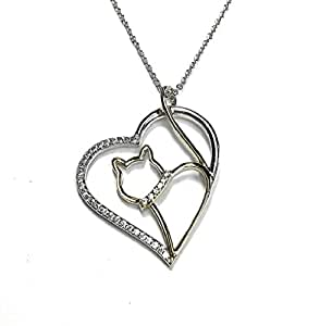 "EZ Creations Cat Necklace Heart Cubic Zircon, Sterling Silver 18kt. Gold Plated. 18"" long 2"" extension"