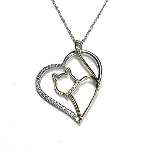 """Cat Necklace Heart Cubic Zircon, Sterling Silver 18kt. Gold Plated. 18"""" Long 2"""" Extension"""