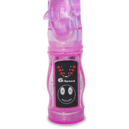 """LeLuv 9"""" Dancing Dolphin Rabbit Vibrator G Spot Tickler Slim Anal Clitoral Dildo Pink"""