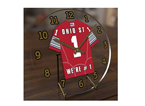FanPlastic College Football USA - We're Number ONE American Football Desktop/Table Clocks - Support Your Team !!! (Ohio State Buckeyes) - Ohio State Desk Clock