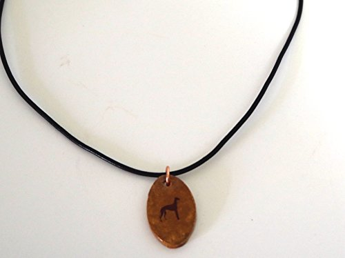 Greyhound Dog Silhouette Necklace Pendant Jewelry Ceramic Pottery Oval Adjustable