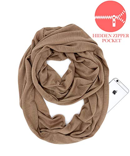 (YOUR SMILE - Premium Fashion Solid Color Infinity Loop Circle Infinity Scarf With Zipper Pocket,Brown)