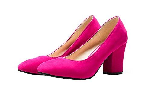 Légeres AgooLar Femme Fermeture Rose PU Haut Talon à Tire Chaussures Cuir D'Orteil rrPd0qvF