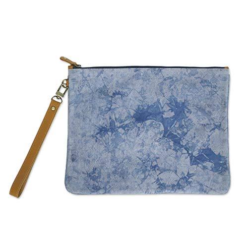 NOVICA Blue Leather Accent...