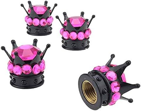 ダイヤモンド タイヤダスト キャップカバー タイヤバルブレバーキャップ 4個 全5色 - ピンク